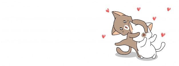 かわいいカップル猫イラスト