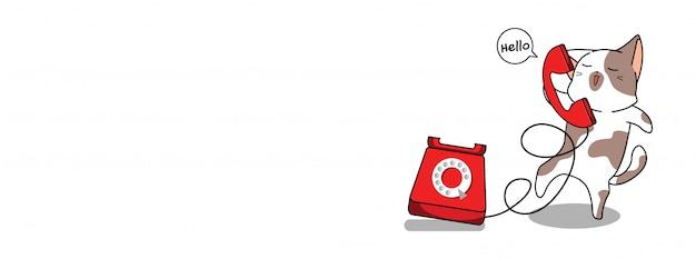 愛らしい猫と電話のイラスト