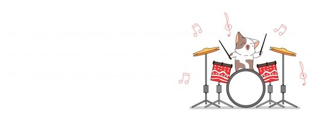 愛らしい猫はドラムイラストバナーを再生しています