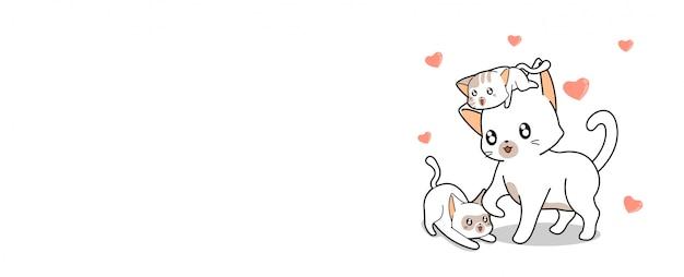 かわいい猫とミニ心の背景イラスト