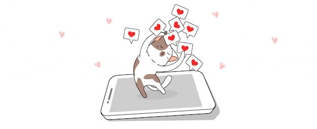 Милый кот рад получить сердце из социальных сетей