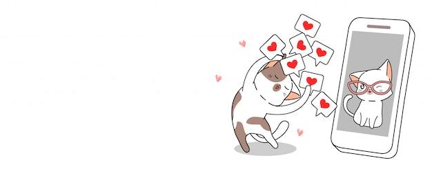 Милый кот рад видеть его в социальных сетях