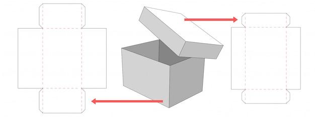 Коробка и крышка упаковочные высечки дизайн шаблона