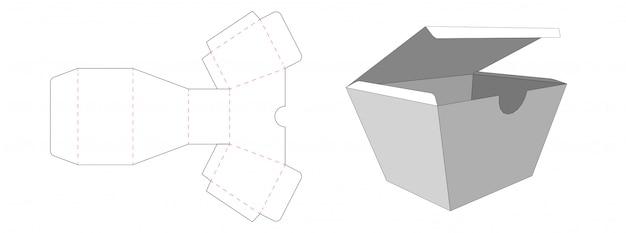 Трапециевидная коробка упаковочная вырубная дизайн шаблона
