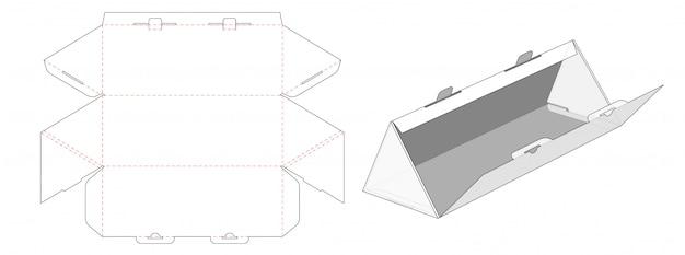 三角形の段ボール箱包装ダイカットテンプレートデザイン