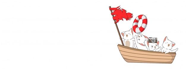 夏の日にボートに乗ってかわいい猫