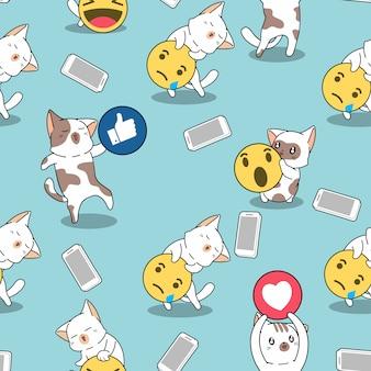 シームレスパターン猫とソーシャルメディア