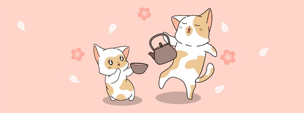 Милые кошки пьют чай