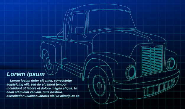 Векторный контур эскиз автомобиля на план.