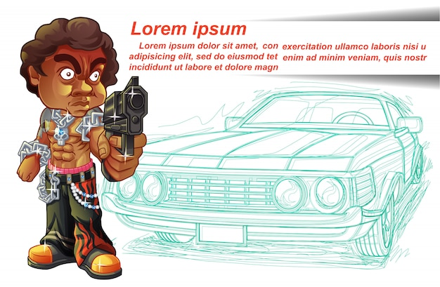刺客のキャラクターは銃と車のアウトラインの背景を運んでいます。