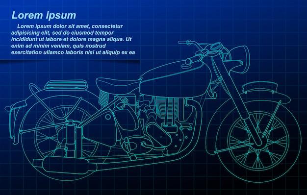青写真の背景にオートバイの概要。