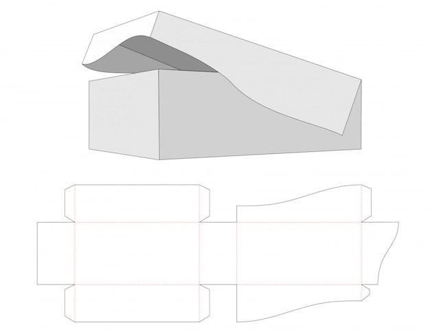 Коробка с основанием и крышкой, скрепленными шаблоном