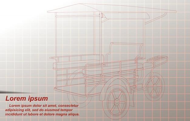 タイの貨物三輪車のスケッチ。
