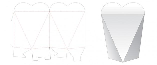 Шаблон для вырезания подарочной коробки в форме сердца