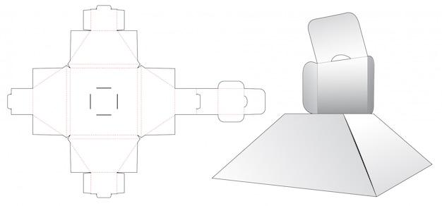 Шаблон для нарезки в форме пирамидальной коробки