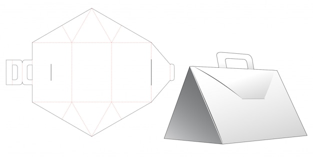 Треугольная коробка с ручкой высечки шаблона дизайна