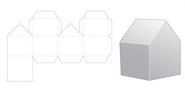 Шаблон для подарочной коробки в форме дома