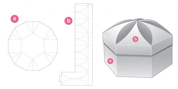 Сложенная подарочная коробка и крышка высечки шаблон дизайна