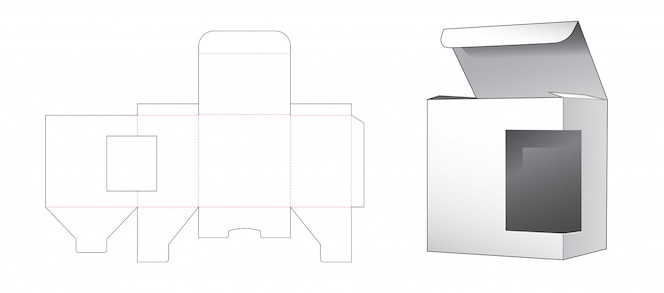 Розничная коробка с шаблоном бокового окна высечки