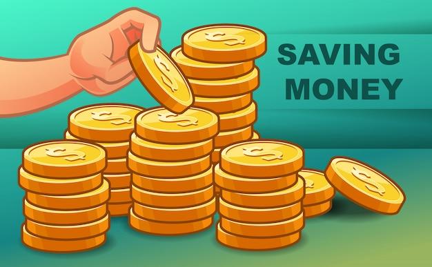 誰かが富のためにお金を節約しています。