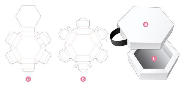 Шестигранная коробка и крышка с ленточным шаблоном