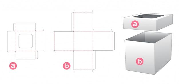 Упаковочная коробка и крышка, которая является шаблоном высечки окна