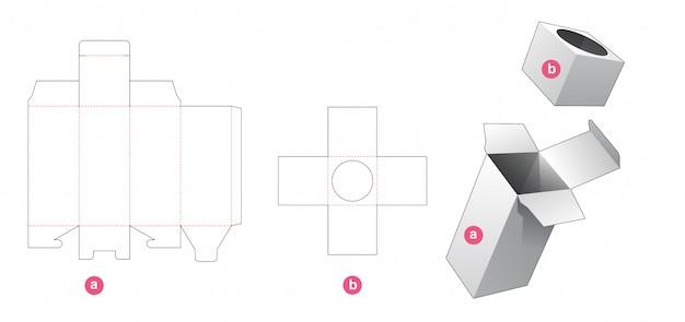 Упаковочная коробка с круглой вставкой, шаблон для высечки