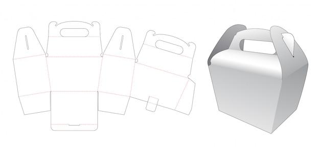 Картонная сумка с ручкой высечки шаблон
