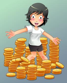 彼女はたくさんのお金を持っている。