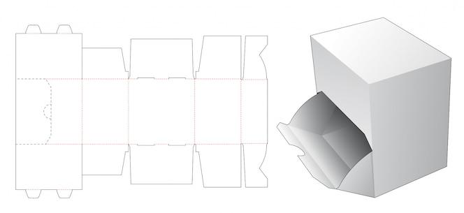 Открытая коробка высечки шаблон