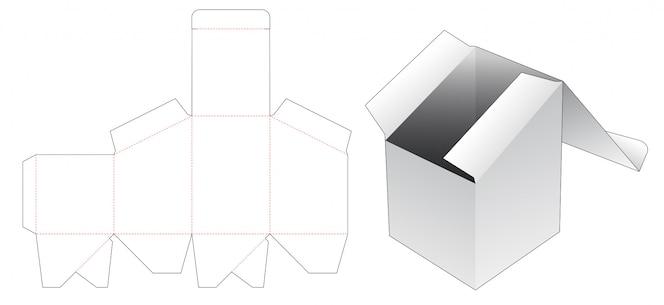 Картонная коробка с верхним наклоном, шаблон высечки