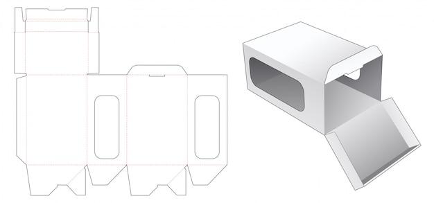 Автоблокировка подарочной коробки с шаблоном бокового окна высечки