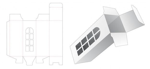 Высокая коробка с шаблоном высечки окна