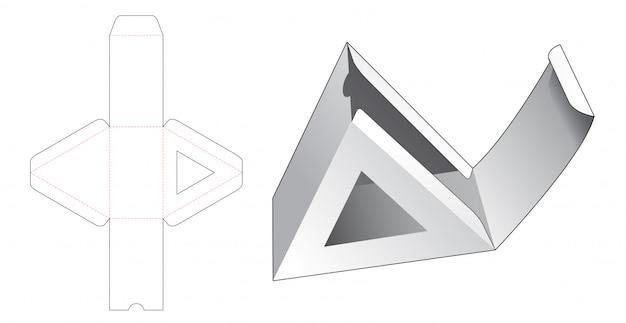Картонная треугольная подарочная коробка с шаблоном высечки окна