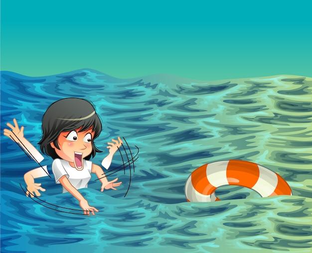 誰かが海で助けを必要としています。