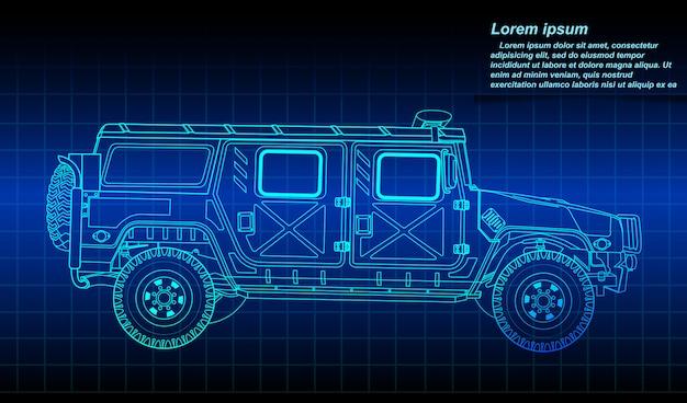 Зарисовка контура военной машины.