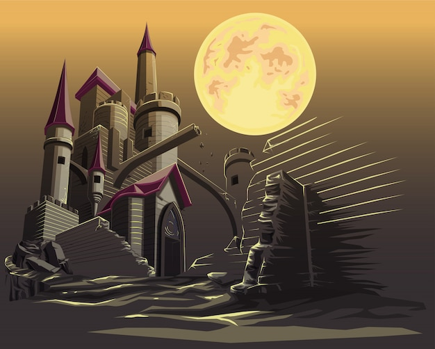 Замок в темную ночь и полнолуние.
