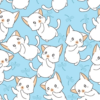 シームレスな小さな猫とトンボのパターン。