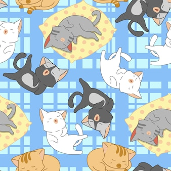 Бесшовные милые кошки спят шаблон.
