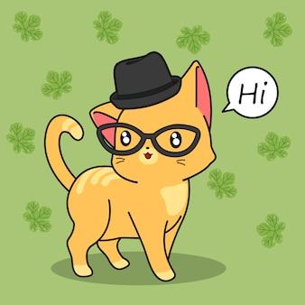 かわいい猫はこんにちは言います。