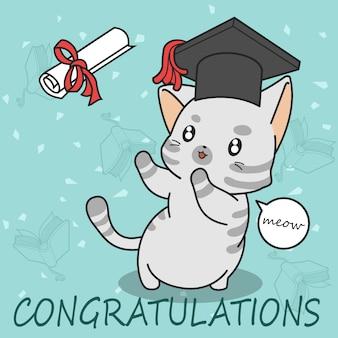 漫画のスタイルで卒業かわいい猫。