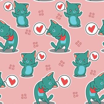 シームレスパターンの猫があなたを愛しています