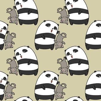 Бесшовные панда ловит кошку шаблон.