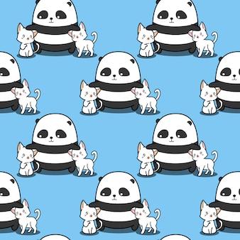 Бесшовные панда любит кошек шаблон.