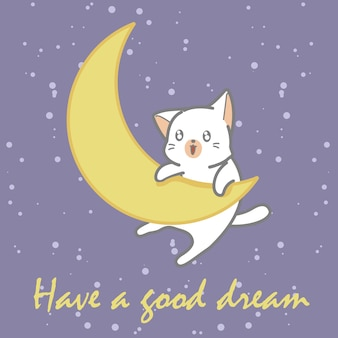 赤ちゃんの白猫と月。