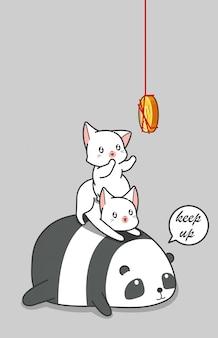 パンダと猫がコインをキャッチしています。