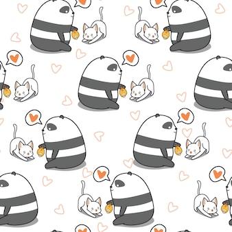 シームレスなパンダは猫のパターンを食べています。