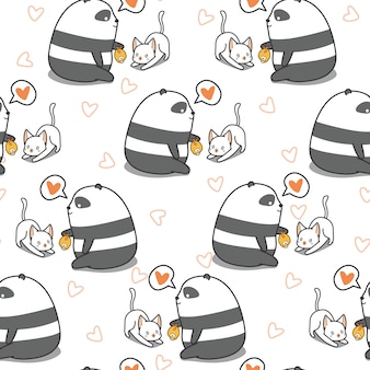 Безшовная панда подает картина кота.