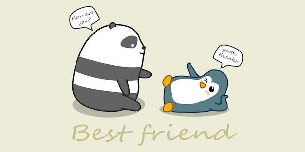 Панда и пингвин разговаривают.