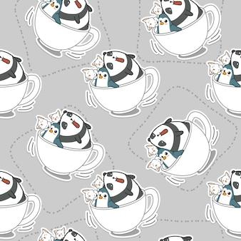 コーヒーカップのパターンでシームレスな動物。